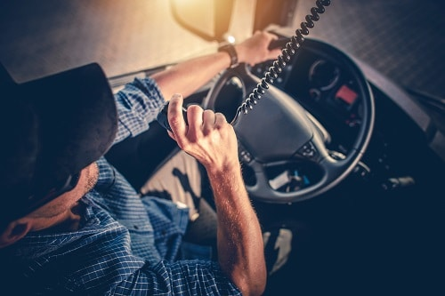 Truck Driver Using CB Radio